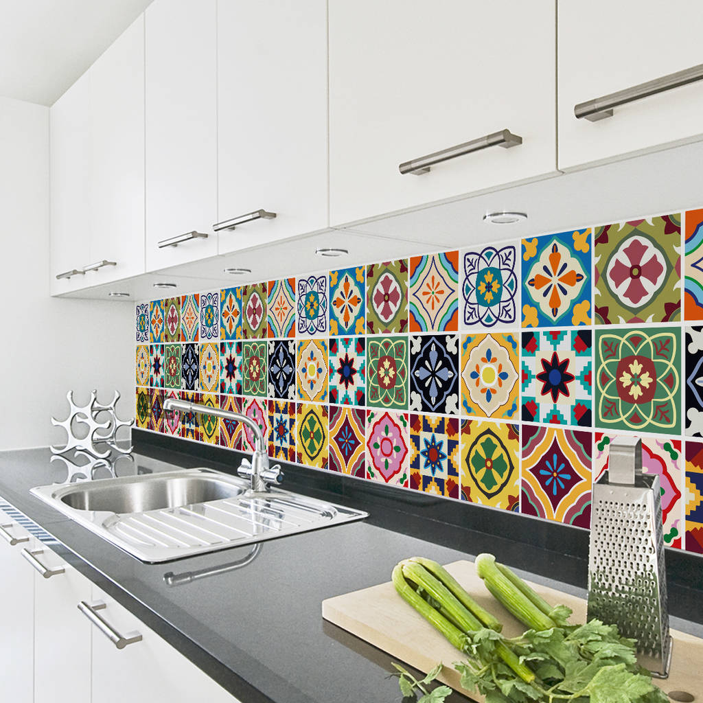 talavera tile decal sticker set pack of 24 by sirface. Black Bedroom Furniture Sets. Home Design Ideas