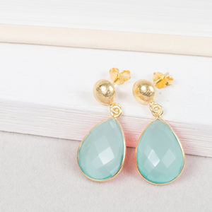 Aqua Gemstone And Gold Drop Earrings