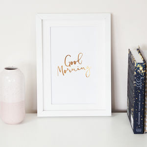 'Good Morning' Foil Wall Art Print