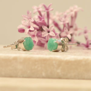 Emerald And Silver Studs - earrings