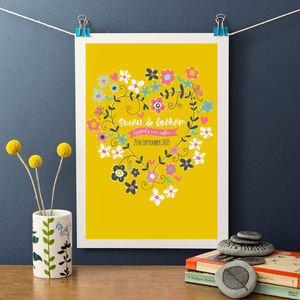 Personalised Floral Wedding Or Engagement Print