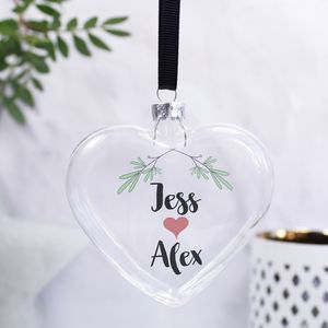Personalised Mistletoe Christmas Bauble For Couples