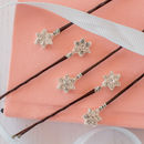 Set Of Five Diamante Flower Pins