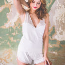 Cream Organic Cotton And Lace Camisole And Short Set
