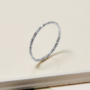 Sterling Silver Skinny Faceted Stacking Ring