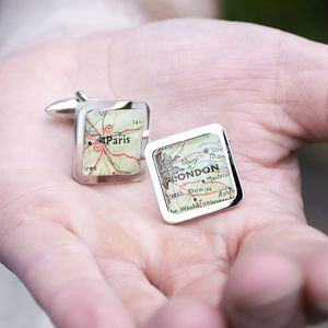 Personalised Square Map Location Cufflinks - gifts for the groom