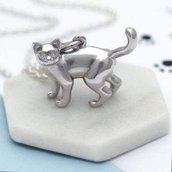 Personalised Sterling Silver Cat Necklace