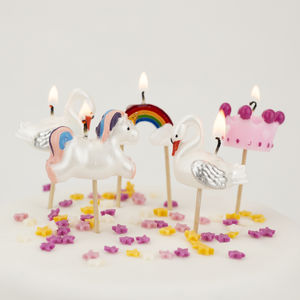 Fairytale Birthday Cake Candles Unicorn Princess Swans