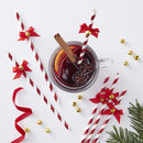Red Foiled Straws With Bells Red And Gold
