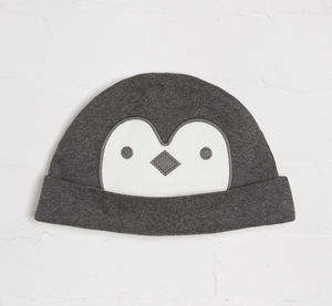 Charcoal Penguin Face Cosy Hat