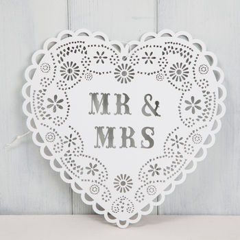 Hanging Heart Shaped Mr And Mrs Sign