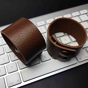 Wide Luxury Leather Mens Bracelet