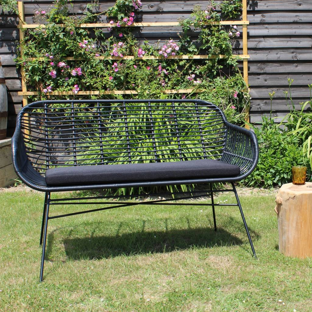 Surprising Garden Bench With Seat Pad In Black Bralicious Painted Fabric Chair Ideas Braliciousco