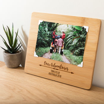Personalised Adventures Bamboo Photo Board