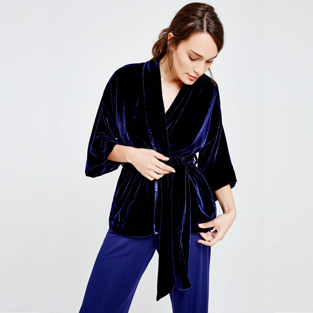 personalised luxury short velvet dressing gown by blue marmalade ...