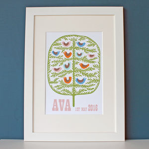 Personalised Tree And Birds Print