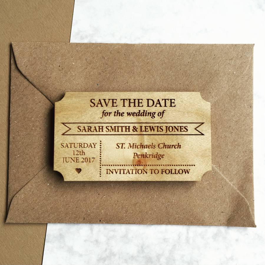 Simple Ticket Wooden Save The Date Magnet By