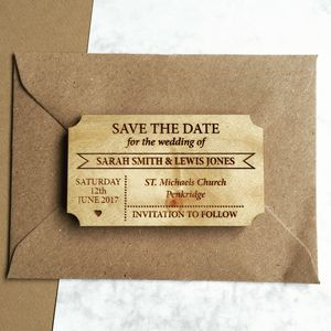 Simple Ticket Wooden Save The Date Magnet