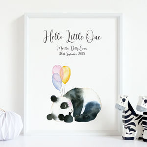 'Hello Little One' Personalised Birth Nursery Print