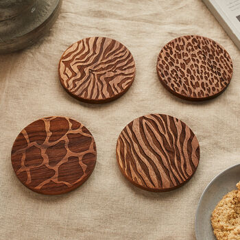 Wood Animal Print Coaster Set Of Four