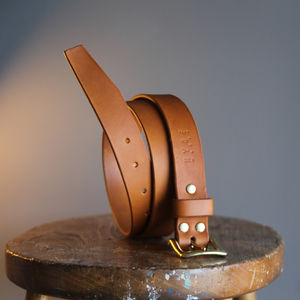Personalised Leather Belt In Tan