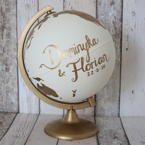 Personalised Couples Hand Painted Globe - ornaments