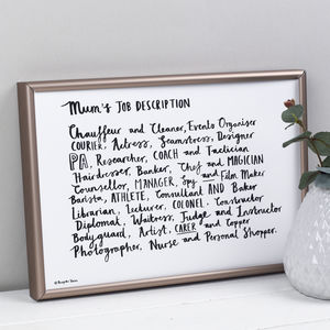 Mum's Job Description Poem Print