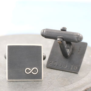 Personalised Silver Black Infinity Cufflinks - mens