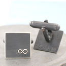 Personalised Wedding Cufflinks. Black Infinity Symbol