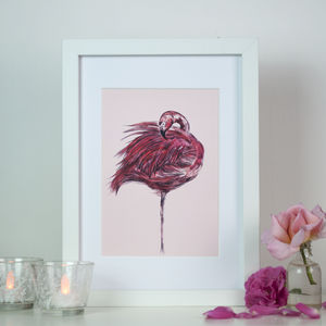 Blush Pink Flamingo Original Art Print