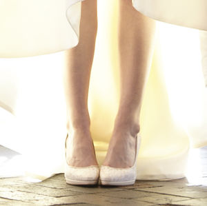 Wedding Court Shoe Francesca Sheer Ivory Lace Platform - bridal shoes
