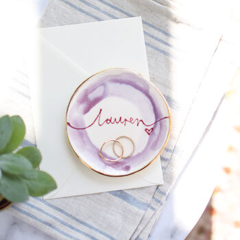 Personalised Watercolour Style Trinket Dish