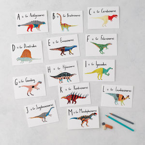 A To Z Alphabet Dinosaurs Greeting Cards - children's birthday cards