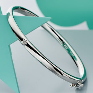 'Xandra' Diamond Hinged Bangle - children's accessories