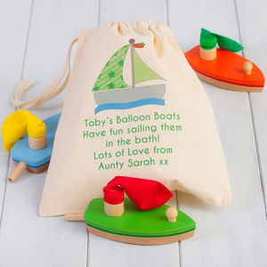 Three Wooden Balloon Boat Toys And Personalised Bag