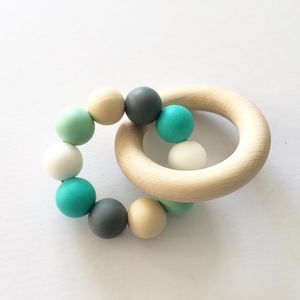 Silicone Beaded Wooden Teething Ring - new in baby & child