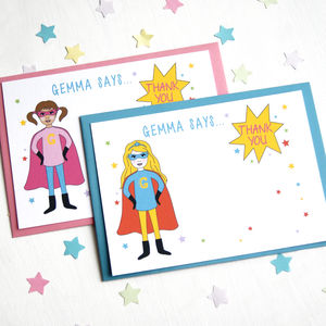 Superhero Girl Personalised Thank You Note Cards - thank you cards
