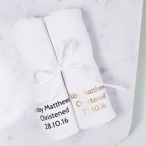 Personalised Baby Christening Muslin Keepsake Set - christening gifts