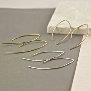 Contemporary Leaf Hoop Earrings - earrings