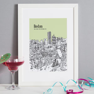 Personalised Boston Print - drawings & illustrations