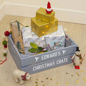 Personalised Medium Christmas Gift Crate - wrapping