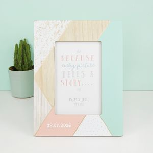 Personalised Geometric Wooden Photo Frame - picture frames