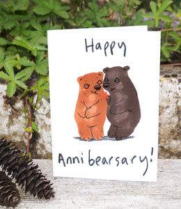 Happy Anniversary Bear Card - wedding, engagement & anniversary cards