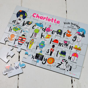 Personalised Wooden Alphabet Puzzle - stocking fillers for babies & children