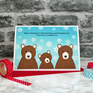 'Bear Family' Christmas Card For Grandparents / Parents