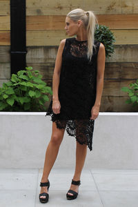 Asymmetric Lace Top - tunics