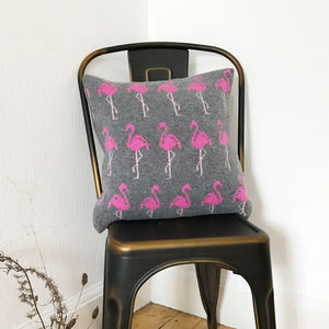 Knitted Lambswool Flamingo Cushion - whatsnew