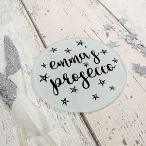 Personalised Name Prosecco Or Drink Coaster - birthday gifts