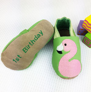 Personalised First Birthday Flamingo Shoes - babies' shoes, sandals & boots