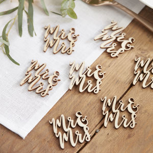 Laser Cut Mr And Mrs Wooden Wedding Confetti - decoration